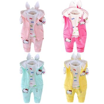 2016 Winter Velvet Toddler Girl Clothing Sets 3pcs Hooded Coats Kids Clothes Sets Baby Girls Winter Clothes Hello Kitty
