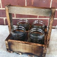 Reclaimed pallet caddie silverware table centerpiece rustic home decor wedding centerpiece