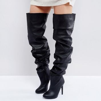 Public Desire Black Slouch Over The Knee Boots at asos.com