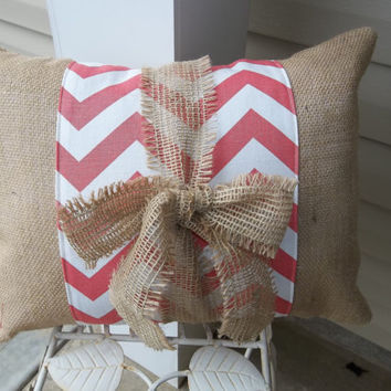 Coral Chevron Print Band on Natural burlap Pillow with burlap tie