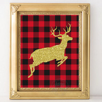 Gold glitter deer, buffalo plaid, Christmas deer, Deer print, Christmas plaid, plaid wall art, Christmas decor, Christmas cards, printable