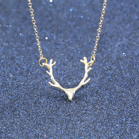 Gold Plated Necklace Deer Antler Pendant Necklace Christmas Jewelry  -03327