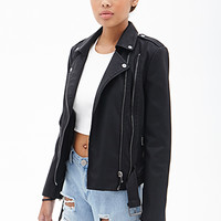 FOREVER 21 Buckled Faux Leather Moto Jacket Black