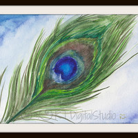 Beautiful Peacock Feather In Watercolors- Feather Illustration, Original art print, Home Decor, Nature Painting