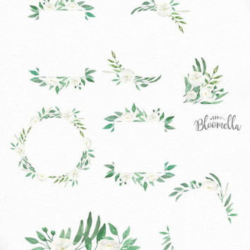 7 Watercolour Wedding White Blooms Leaf Frame Clipart - Hand Painted Green INSTANT DOWNLOAD PNGs Wild Flowers Leaves Digital Art Garlands