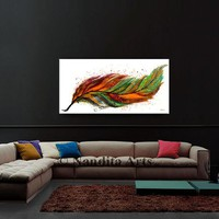 """Painting 48"""" - Feather Wall Art , Original Hand made oil Painting of a Feather, Large Painting, modern art  by Nandita Albright"""