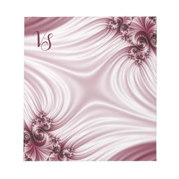 Pretty pink fractal. Silk imitation. Add monogram. Notepad