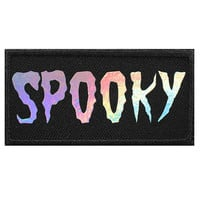 Holographic SPOOKY Iron On Patch Embroidery Sewing DIY Customise Iridescent Shiny Glitter Rainbow '90s Galaxy Tumblr Kawaii Halloween Gothic