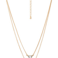 FOREVER 21 Layered Rhinestone Curve Necklace Gold/Clear One
