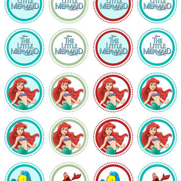 20 The Little Mermaid Collection Edible Rice Wafer Paper Cupcake Topper