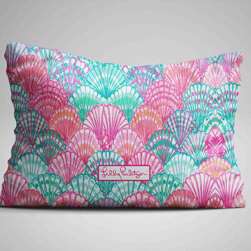 "Lilly Pulitzer Ocean Shell Custom Zippered Pillow Case 16""x 24"" - Two sides"