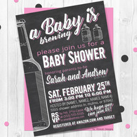 A baby is brewing coed baby shower invitation, Baby is brewing invitation, Co-ed baby shower invite, Beer and babies party invitation