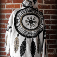 Dream Catcher Wool Zip Up Hooded Sweatshirt Small
