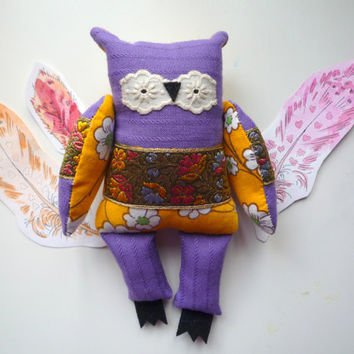 Becky  Little  Owl, soft art creature  toy by Wassupbrothers
