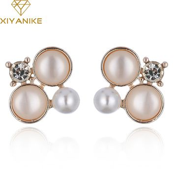 XIYANIKE New Imitation Pearl Stud Earrings Non Pierced New Luxury Earrings For Women Brincos Earrings Fashion Jewelry E1222