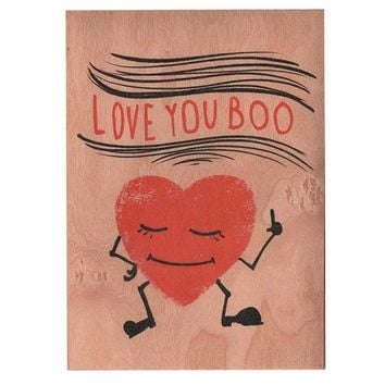 Wood Card Boo Heart