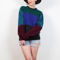 Vintage 90s Boyfriend Sweater Teal green purple Gray Burgundy Striped Chunky Knit 1990s Sweater Soft Grunge Jumper Color Block L Large XL