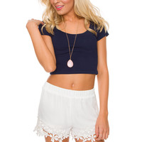 Janice Lace Shorts - White