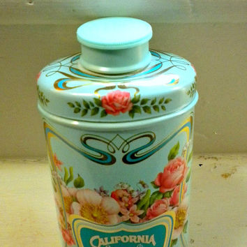Vintage Powder Bottle, Coastal Blue Talc Powder Tin Bottle, Shabby, Romantic, French, Boudoir