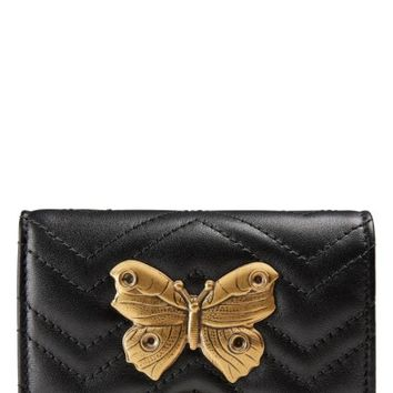 Gucci GG Marmont 2.0 Moth Matelassé Leather Card Case | Nordstrom