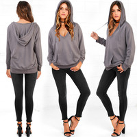 Women Loose Deep V Neck Sweatshirt Hoodie
