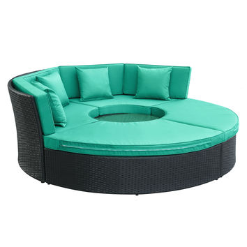 Pursuit Circular Outdoor Patio Daybed Set in Espresso Turquoise
