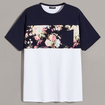 Men Single Pocket Cut-and-sew Floral Top