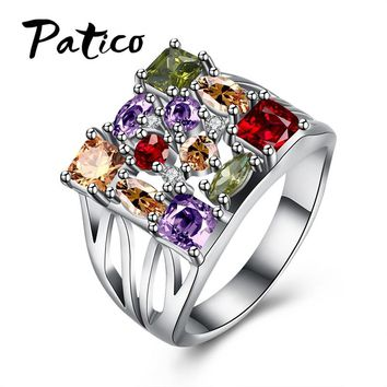 PATICO Fashion 2017 Vintage Big Ring Antique Gold Color Mosaic Colorful Rings For Women Size 6 7 8 9 Wedding Jewelry