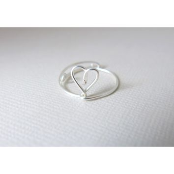 Adjustable Vertical Heart Ring - Single Band - Sterling Silver Wire Wrapped Ring