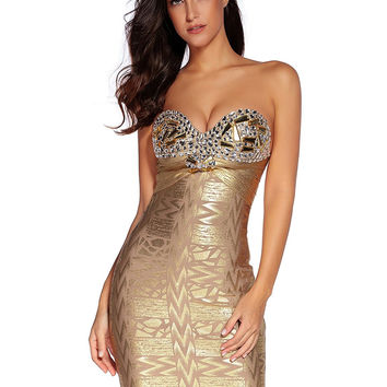 Amy Lee Gold Foil Print Bandage Mini Dress