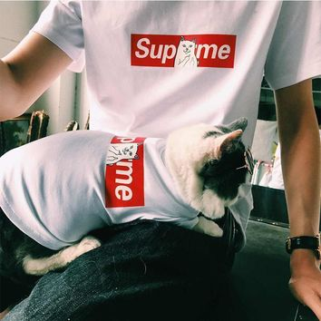 Custom supreme pet tide brand, spring and summer dog, baby pack, thin cat, T-shirt, bu