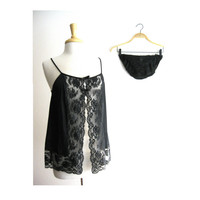 Black Lace Open Babydoll Set Size Medium