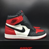 [Free Shipping]2018 Air Jordan 1 Bred Toe Black Red White OG 555088-610 Basketball Sneaker