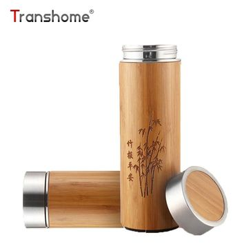 Creative Bamboo Thermos Bottle 360ml Stainless Steel