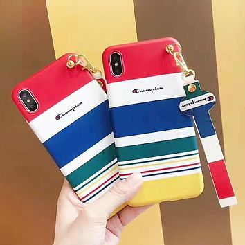 Champion Fashion New Letter Multicolor Stripe Women Men Phone Case Protective Cover