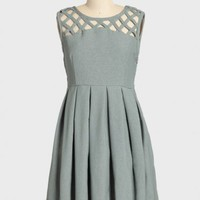 lily pleated dress in gray by Dear Creatures at ShopRuche.com