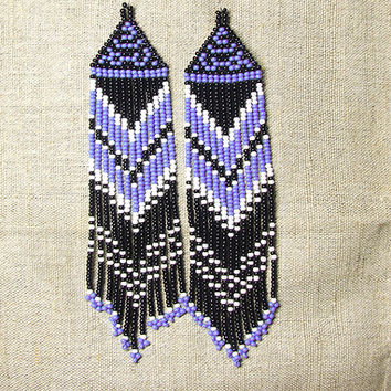Native American  Beaded Earrings  Inspired. White Black  Purple Earrings. Dangle  Earrings.Long Earrings.  Beadwork.