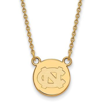 NCAA 14k Gold Plated Silver North Carolina Small Disc Necklace