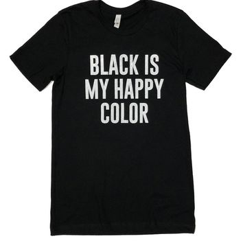 Sweet Caroline Boutique Black Happy Color T-Shirt