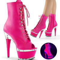 Platform Ankle Peep Toe Stripper Boot