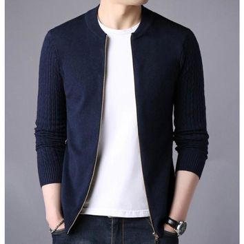 Mens Round Neck Zip Up Cardigan