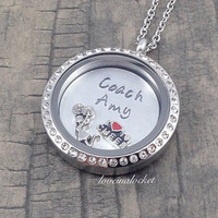 Cheerleading Coach Necklace, Cheer Coach Locket, Floating Locket, Cheer Coach Gift, Cheerleader Coach Gift, Coach Gift, Cheer Coach Necklace