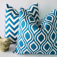 """Chevron Decorative Pillows TURQUOISE 18"""" Premier Prints Nicole Pillow Covers 18 inch Deep Teal Pillow set of TWO Feather IKAT"""