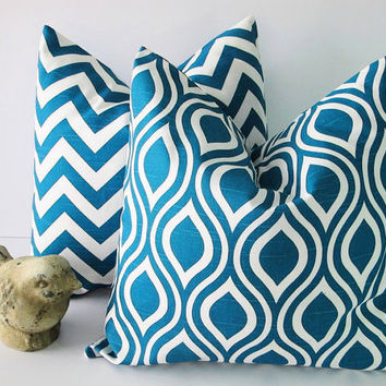 "Chevron Decorative Pillows TURQUOISE 18"" Premier Prints Nicole Pillow Covers 18 inch Deep Teal Pillow set of TWO Feather IKAT"
