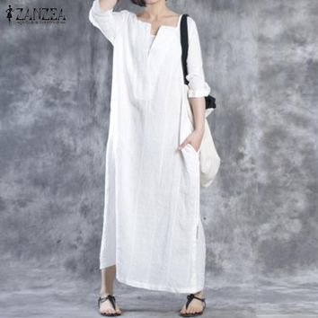 Vestidos 2018 Autumn ZANZEA Women Casual Loose Cotton Solid Dress Vintage Ladies Half Sleeves V Neck Maxi Long Dresses Oversized