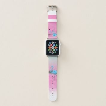 Blue Flamingos on a Pink Lake Apple Watch Band