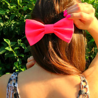 Neon Pink Big Hair Bow by EsmerAccessories on Etsy