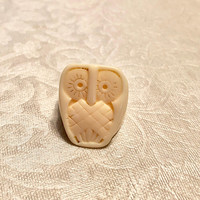 Owl Ring / Vintage Faux Ivory Carved Ring / White Owl Ring / Owl Jewerly