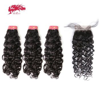 Ali Queen Hair Products Braziian Water Wave 3pcs Human Hair Bundles With Swiss Lace Closure Free Part Virgin Hair