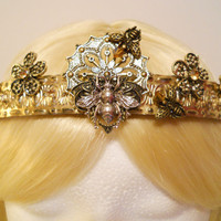 Queen Bee Crown, Gold and Silver, Flower, Tiara, Filigree for a Princess, Bumble, Honey Bee, Topaz, Game of Thrones, Steampunk, Reign, Royal